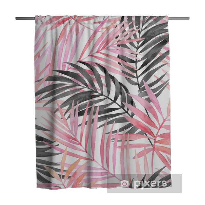Douchegordijn Aquarel roze gekleurd en grafisch palmblad schilderij. - Bloemen en Planten