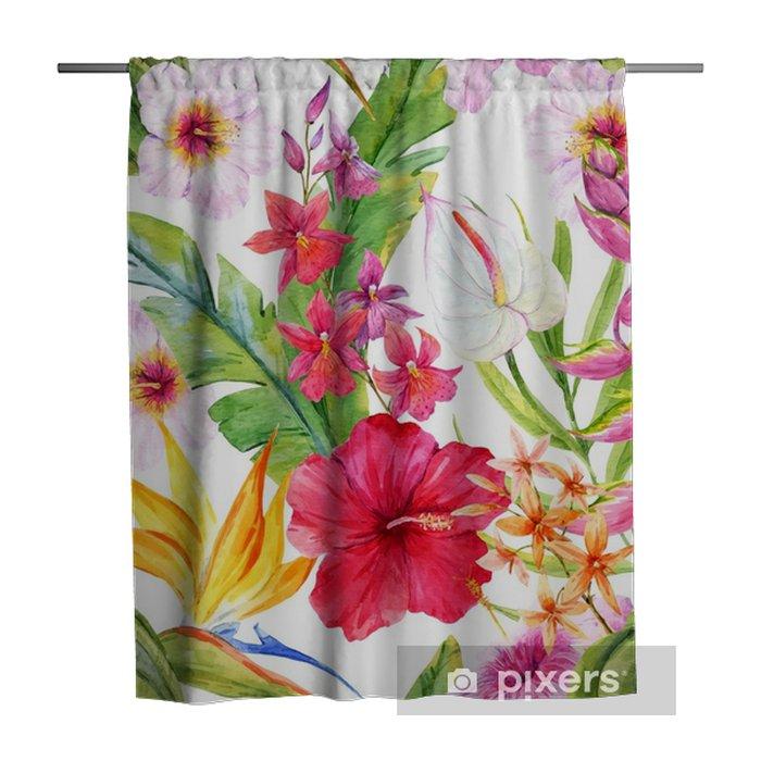 Douchegordijn Aquarel tropische bloemmotief - Bloemen en Planten