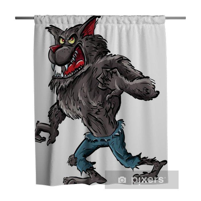 Douchegordijn Cartoon weerwolf met klauwen en tanden - Dieren