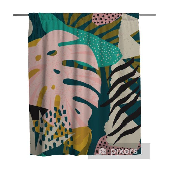 Douchegordijn Collage hedendaagse bloemen Hawaiiaanse patroon vector. naadloos oppervlak ontwerp. - Hobby's en Vrije tijd