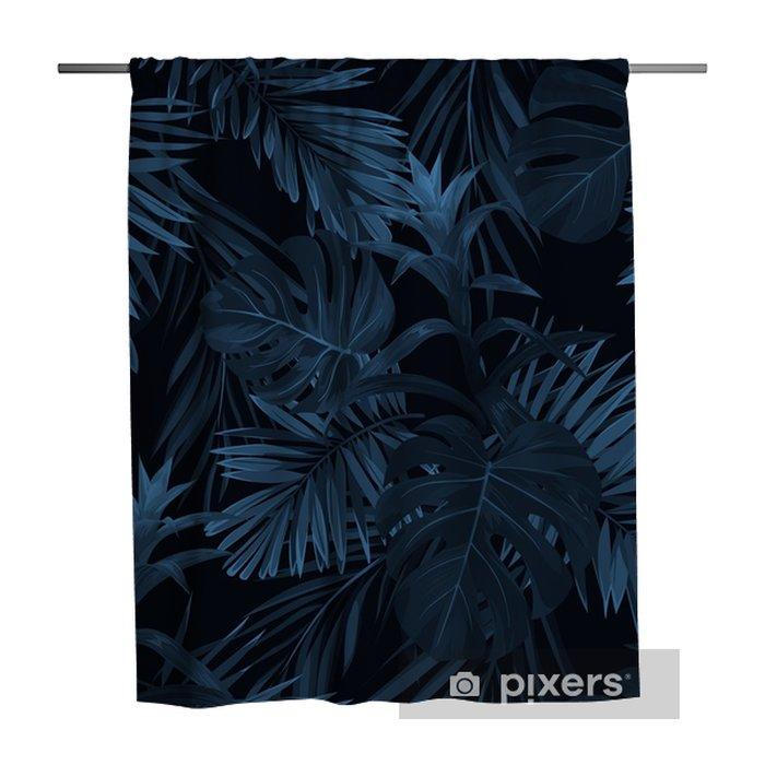 Douchegordijn Exotische tropische vrctor achtergrond met Hawaiiaanse planten en bloemen. naadloos indigo tropisch patroon met monstera en sabal palmbladen, guzmania bloemen. - Bloemen en Planten