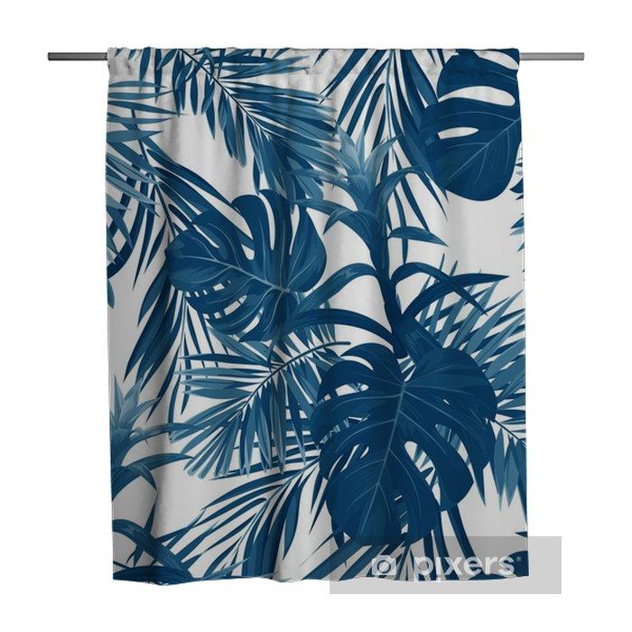 Douchegordijn Hand getrokken naadloze bloemmotief met guzmania bloemen, monstera en koninklijke palmbladeren. exotische Hawaiiaanse vector achtergrond. - Bloemen en Planten