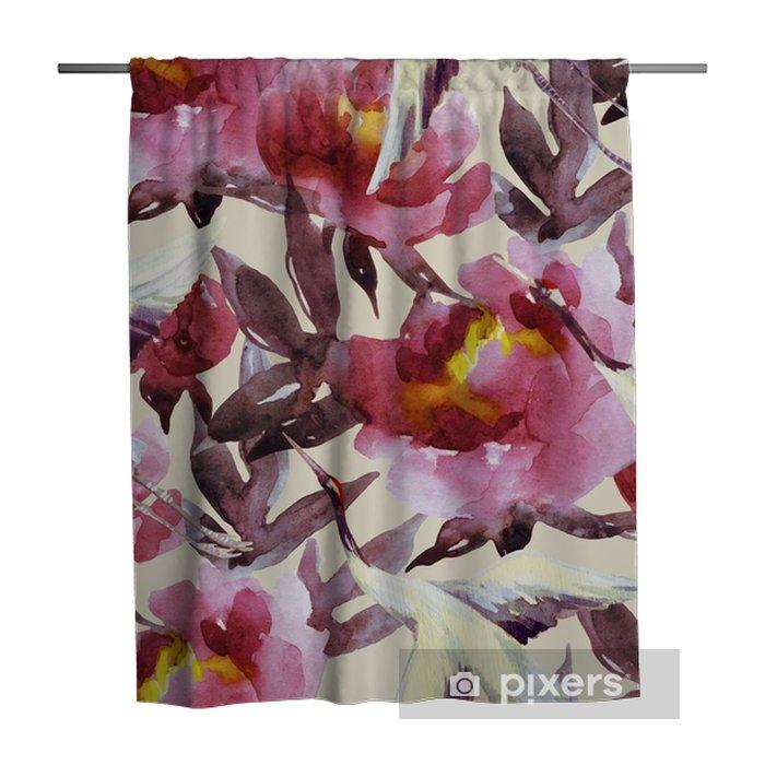 Douchegordijn Handgeschilderde aquarel pioenen en kraanvogels - Bloemen en Planten