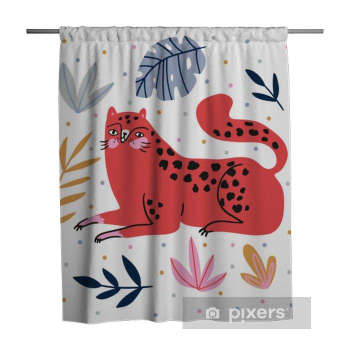 Douchegordijn Handgetekende illustratie met wilde kat en tropische bladeren op de polka dots achtergrond - voor home decor, t-shirt afdrukken, poster, wenskaart. creatieve schattige vectorillustratie met leopard. - Dieren