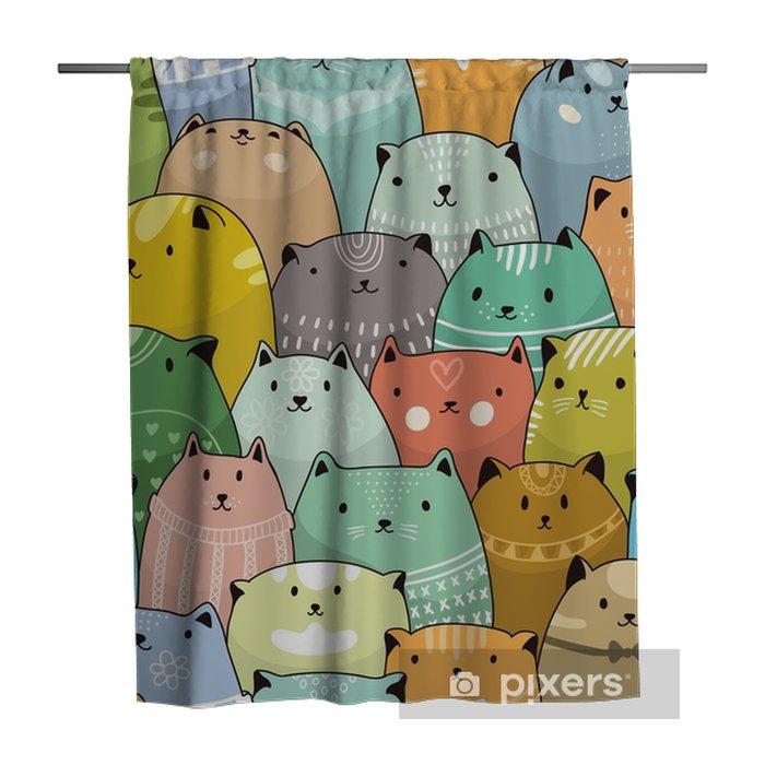 Douchegordijn Katten naadloze patroon - Grafische Bronnen