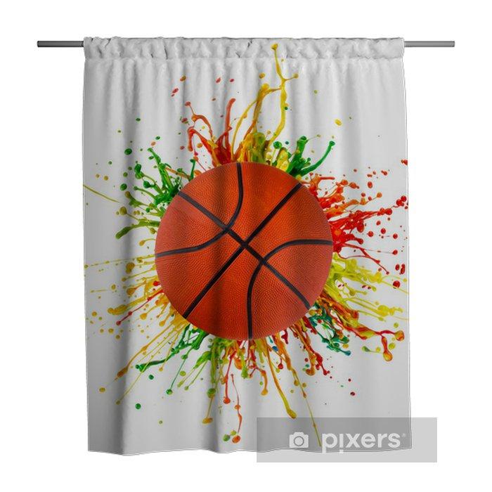 Douchegordijn Kleurrijke splash met sport bal - Basketbal