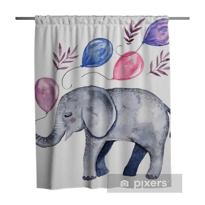 Douchegordijn Leuke illustratie met babyolifant en ballonnen - Grafische Bronnen