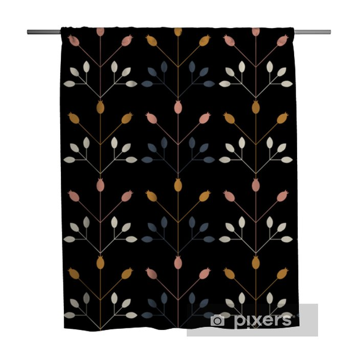 Douchegordijn Modern vector bloemen naadloos geometrisch patroon met gestileerde rozebottelsbessen en bladeren in retro Skandinavische stijl. eenvoudige contouren met versleten textuur. - Bloemen en Planten