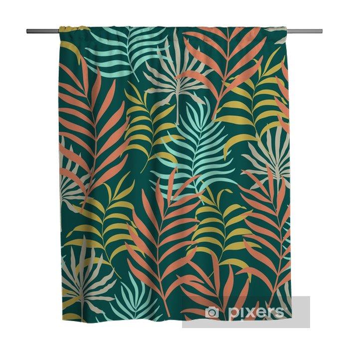 Douchegordijn Naadloos patroon met de hand getekende tropische bladeren. - Bloemen en Planten