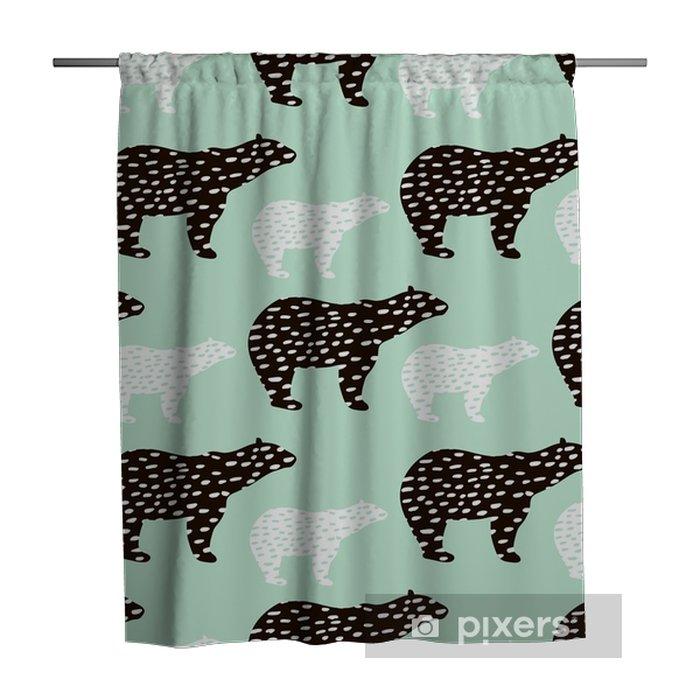 Douchegordijn Naadloze patroon met ijsbeer silhouet. perfect voor stof, textile.vector achtergrond - Grafische Bronnen
