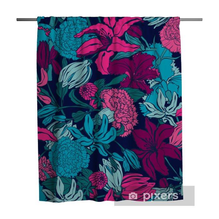 Douchegordijn Naadloze patroon met lilium, ylang, rozen, anjer bloemen. kleurrijke vectorillustratie. afdrukken voor thuis textiel en kleding, stof, textiel - Grafische Bronnen