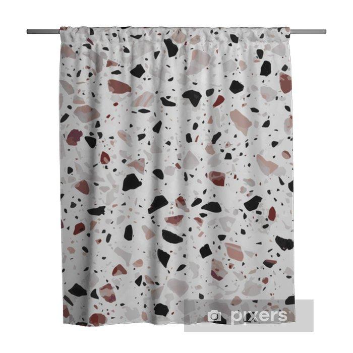 Douchegordijn Terrazzo vloeren vector naadloze patroon in lichtgrijze kleuren met rode accenten. klassiek Italiaans type vloer in Venetiaanse stijl, bestaande uit natuursteen, graniet, kwarts, marmer, glas en beton - Grafische Bronnen