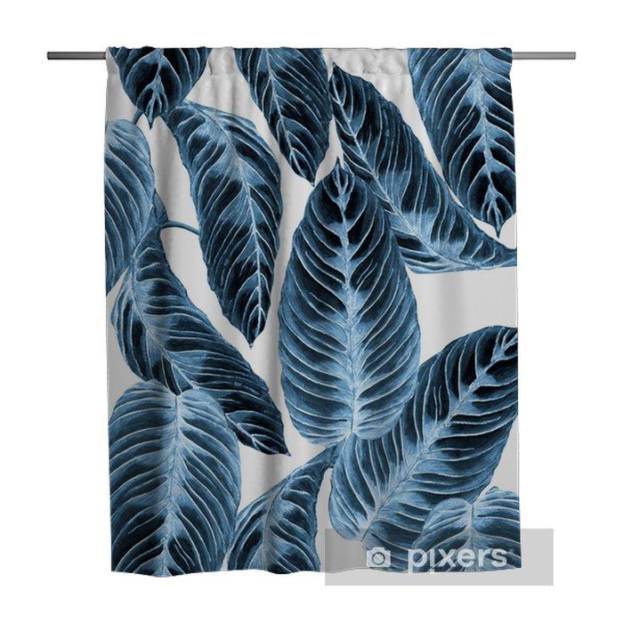 Douchegordijn Tropisch gebladerte naadloos patroon. kleurrijke bladeren van exotische calathea warscewiczii plant, blauwe trend tinten op witte achtergrond. handgemaakte aquarel illustratie. - Grafische Bronnen