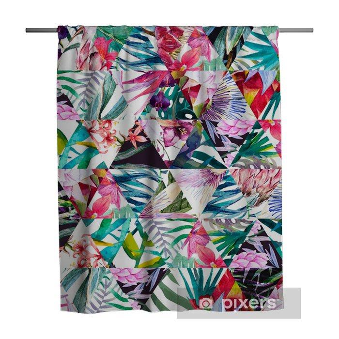 Douchegordijn Tropische aquarel patroon - Bloemen en Planten