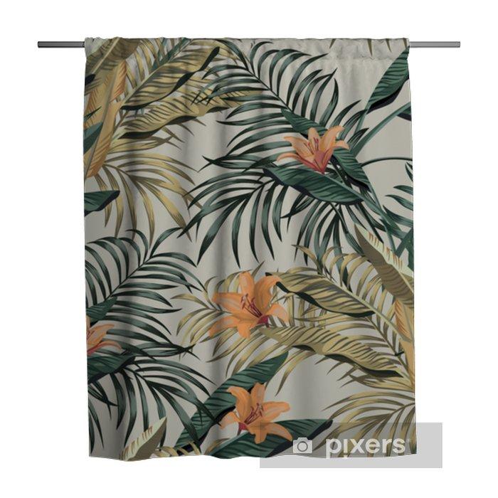 Douchegordijn Tropische bananenbladeren bloemen naadloos - Bloemen en Planten