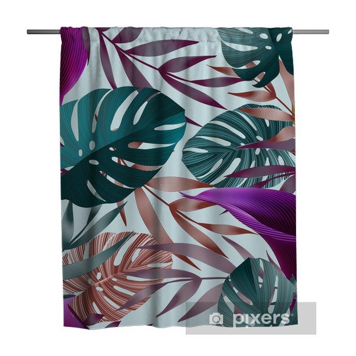 Douchegordijn Tropische bloemen, jungle bladeren, paradijsvogel bloem. - Bloemen en Planten