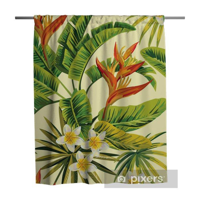 Douchegordijn Tropische exotische bloemen en planten patroon - Restaurant