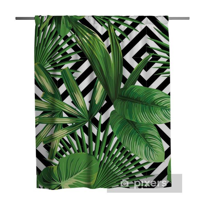 Douchegordijn Tropische palm verlaat patroon, geometrische achtergrond - Canvas Prints Sold