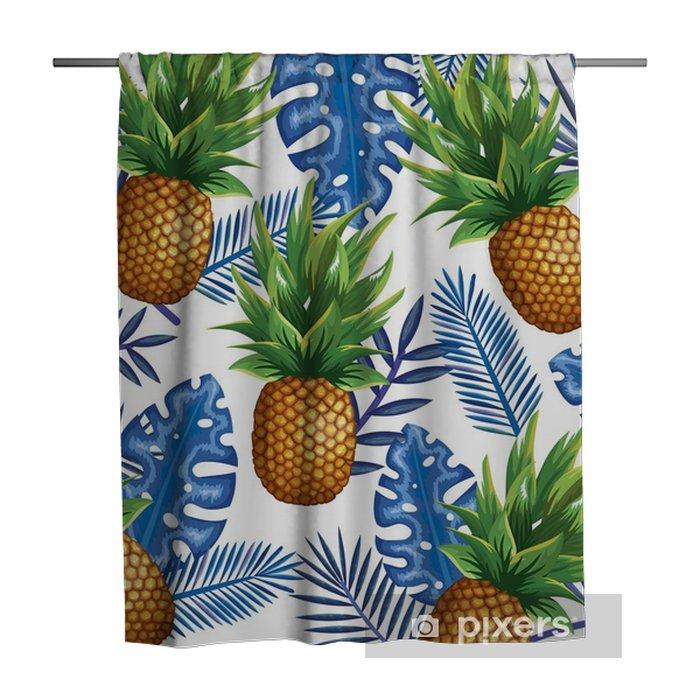 Douchegordijn Tropische tuin met ananas vector illustratie ontwerp fruit, bladeren en bloemen, zomer en exotische concept - Hobby's en Vrije tijd