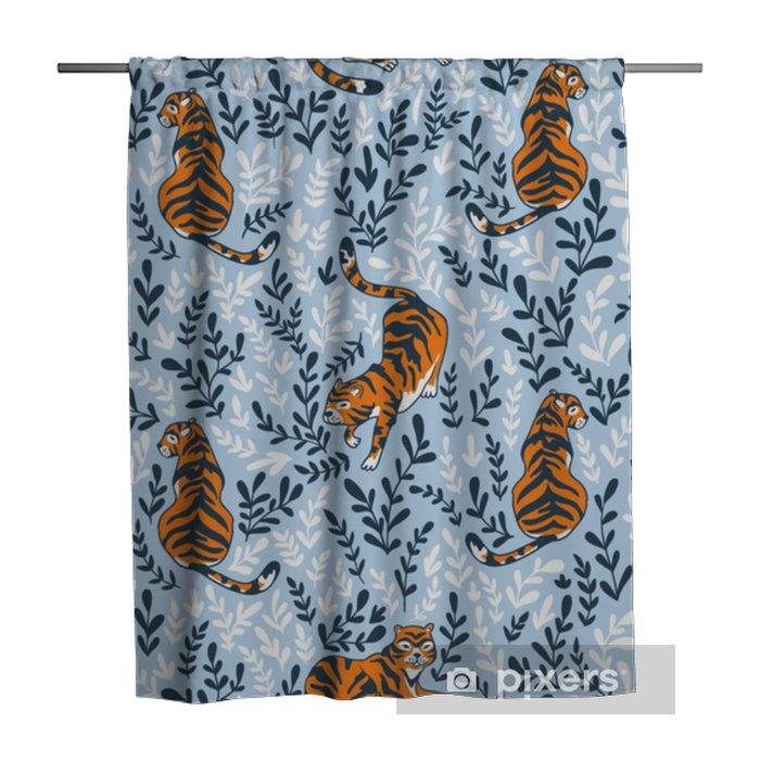 Douchegordijn Vector naadloze patroon met tijgers geïsoleerd op de florale achtergrond. dierlijke achtergrond voor stof of behang boho ontwerp. - Grafische Bronnen