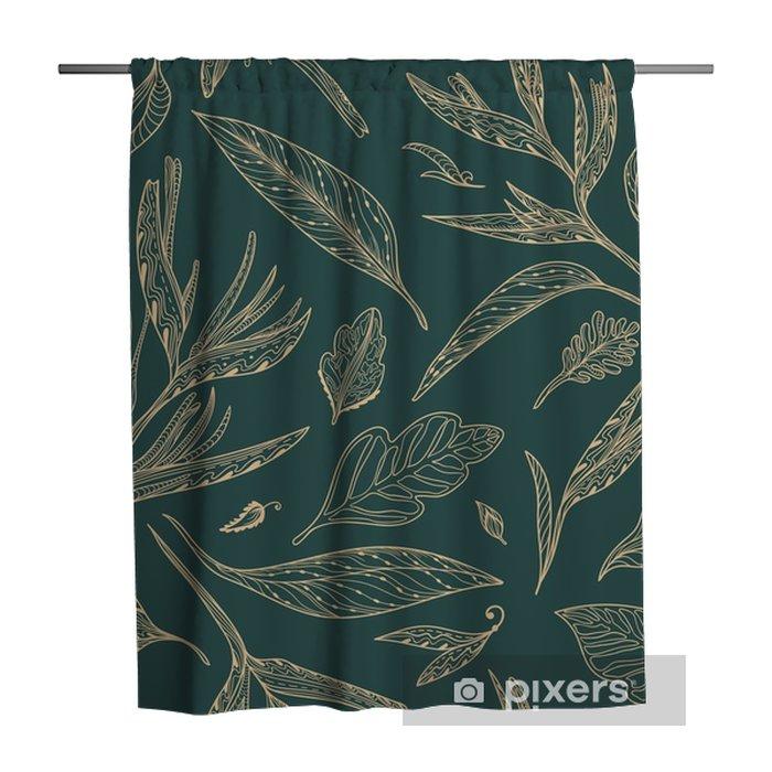 Douchegordijn Vector Tropical Sketch Pattern - Bloemen en Planten