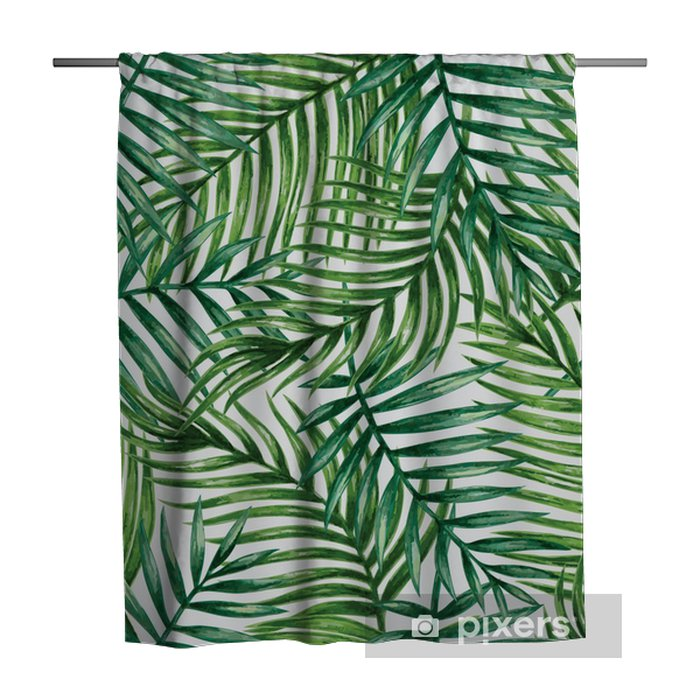 Douchegordijn Watercolor tropical palm leaves seamless pattern. Vector illustration. - Achtergrond