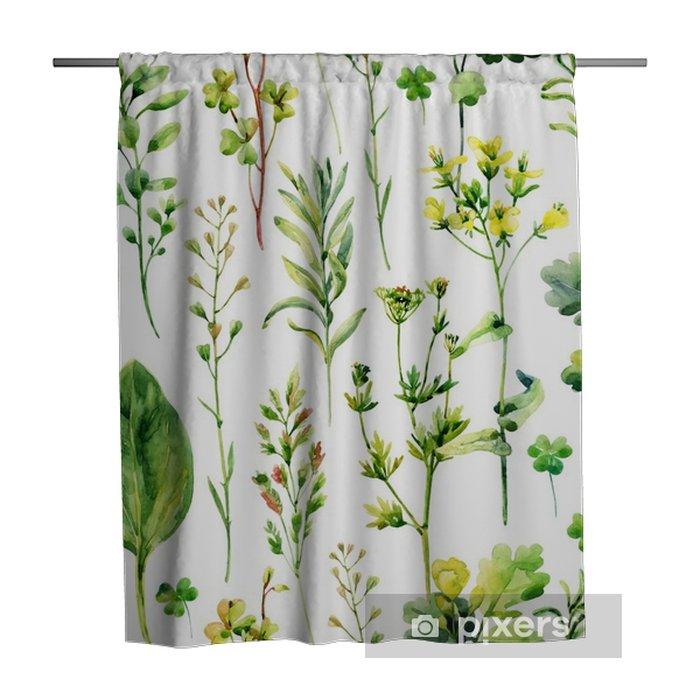 Douchegordijn Watercolor weide onkruid en kruiden naadloos patroon - Bloemen en Planten