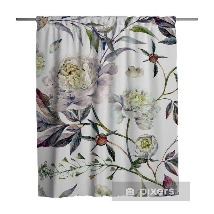 Douchegordijn Watercolour White Peonies Pattern - Bloemen en Planten