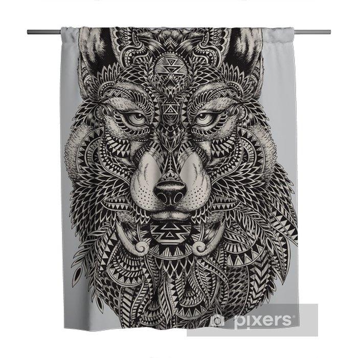 Douchegordijn Zeer gedetailleerde abstracte wolf illustratie - Stijlen