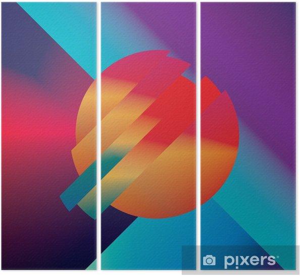 Drieluik Materiaal ontwerp abstracte vector achtergrond met geometrische isometrische vormen. Levendig, helder, glanzend kleurrijk symbool voor behang. - Grafische Bronnen