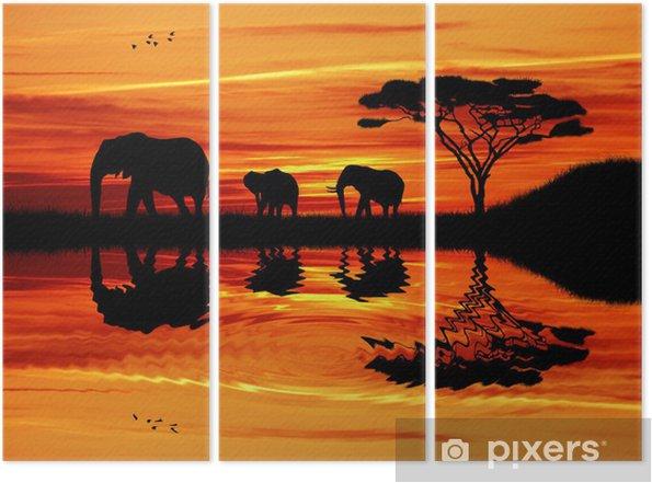 Drieluik Olifant silhouet bij zonsondergang - Olifanten
