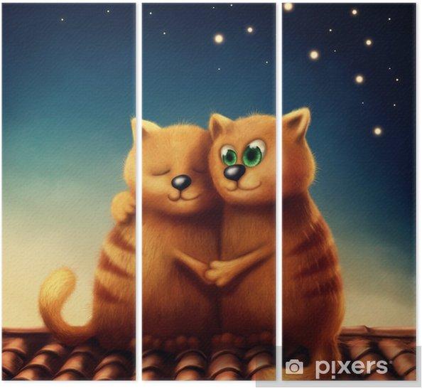 Drieluik Rode katten in de liefde - Dieren