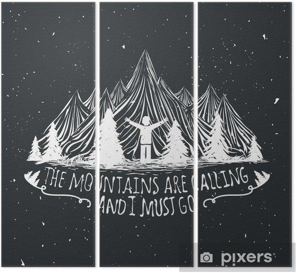 Drieluik Vector wildernis citaat poster met de mens silhouet, bergen en bossen - Landschappen