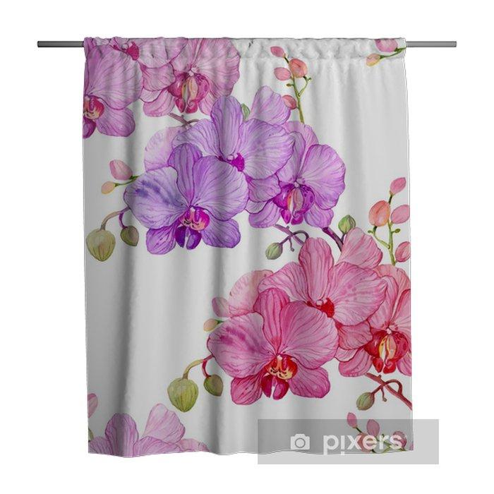 Duschvorhang Nahtlose Muster, Aquarell Orchideen - Pflanzen und Blumen