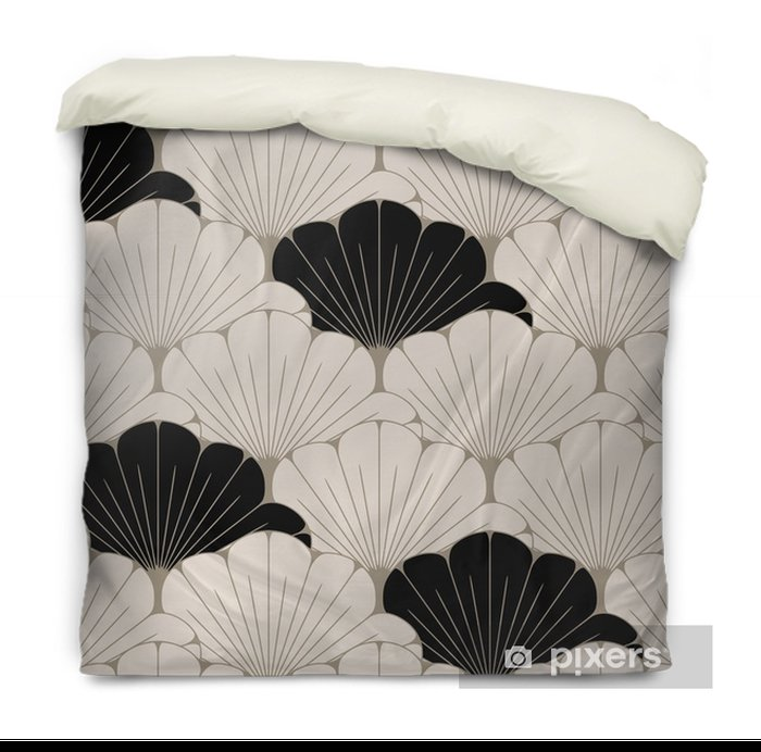 a Japanese style seamless tile with exotic foliage pattern in soft brown and black Duvet Cover - Graphic Resources