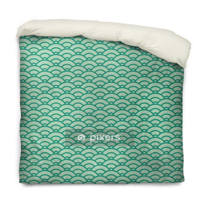 Basic Japanese wave seamless pattern. Green color scheme Duvet Cover - Graphic Resources