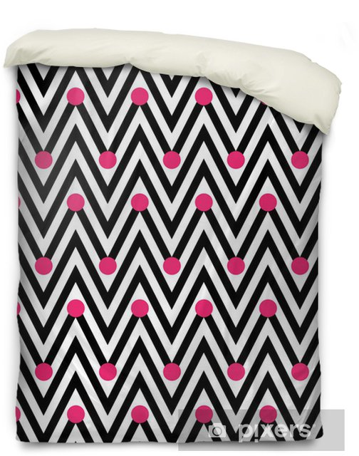 Black and White Horizontal Chevron Striped with Polka Dots Backg Duvet Cover - Backgrounds