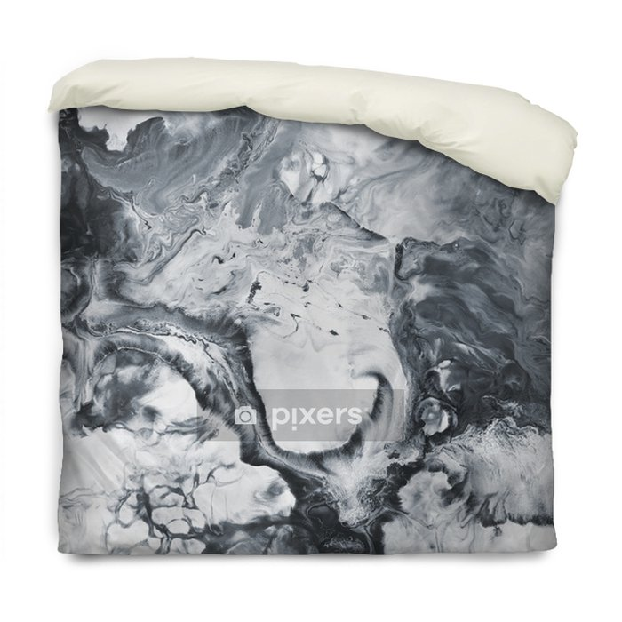 Black and white marble abstract hand painted background Duvet Cover - Graphic Resources