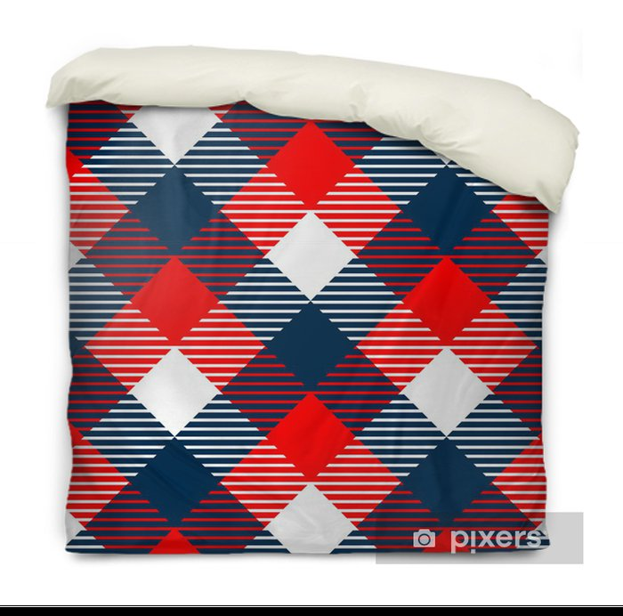 Checkered gingham fabric seamless pattern in blue white red Duvet Cover - Backgrounds