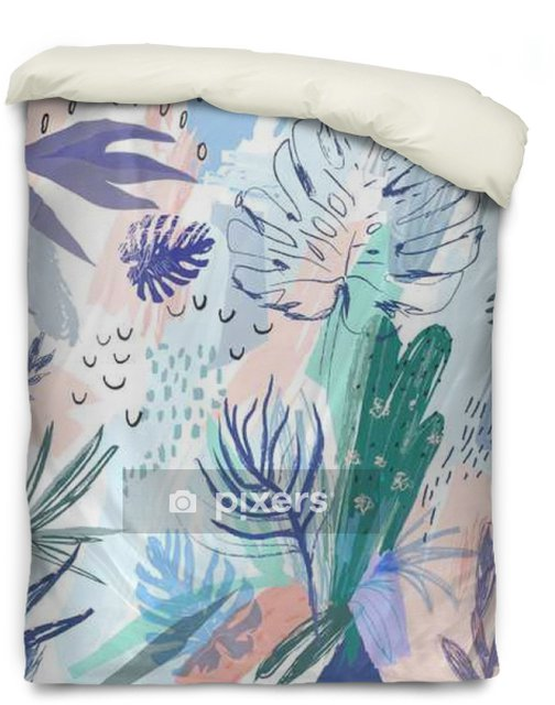 Creative universal floral background in tropical style. Vector Duvet Cover - Plants and Flowers