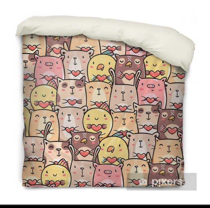 Cute pets doodles seamless pattern Duvet Cover - Animals
