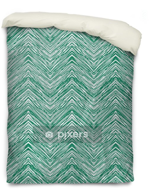 Emerald green hand drawn vector zigzag pattern Duvet Cover - Graphic Resources