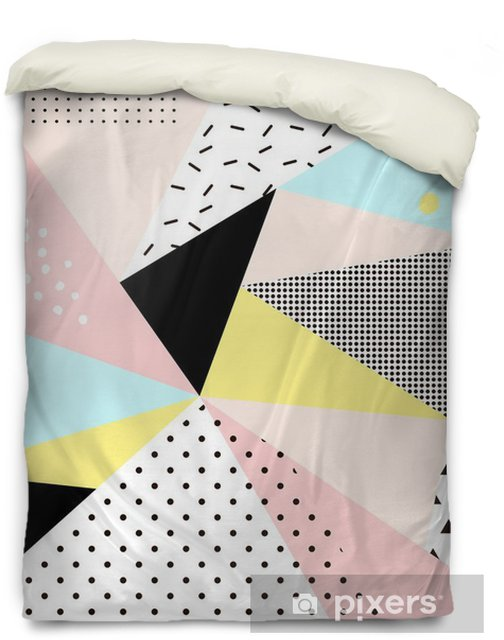 Geometric memphis background.Retro design for invitation, business card, poster or banner. Duvet Cover - Graphic Resources