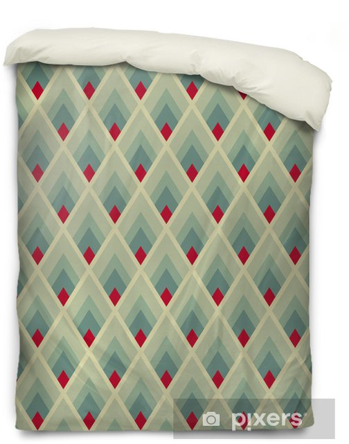 Geometric seamless pattern with green and red lozenges Duvet Cover - Backgrounds