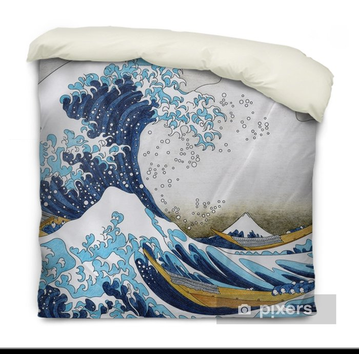 Hokusai The Great Wave Of Kanagawa adult coloring page Duvet Cover - Graphic Resources