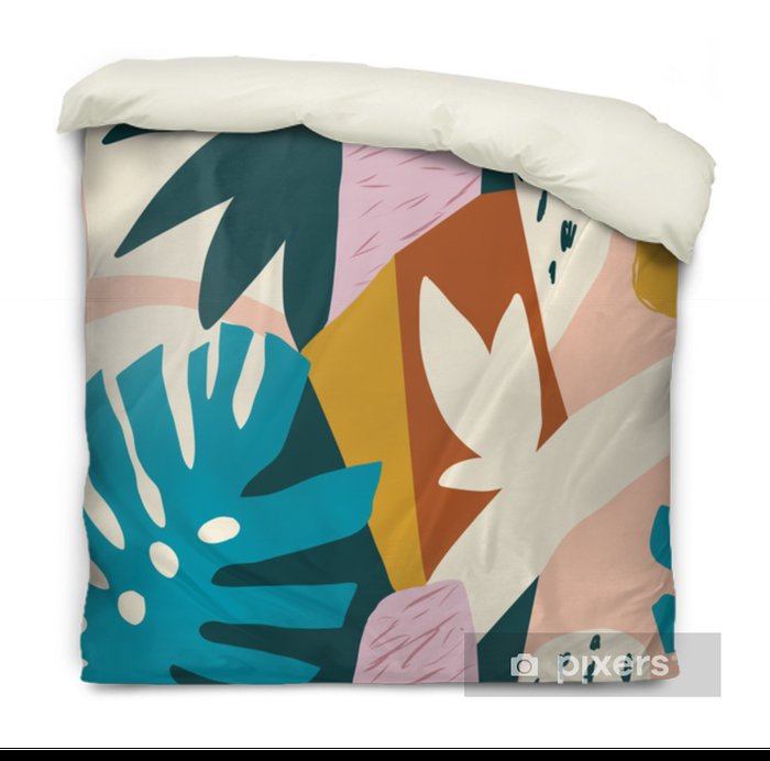 Modern exotic jungle fruits and plants illustration in vector. Duvet Cover - Plants and Flowers