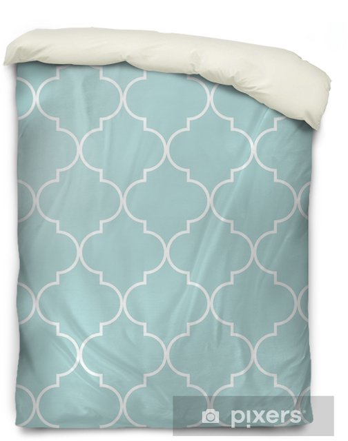 Quatrefoil geometric seamless pattern, background, vector illustration in mint blue, soft turquoise color and white. Duvet Cover - Graphic Resources
