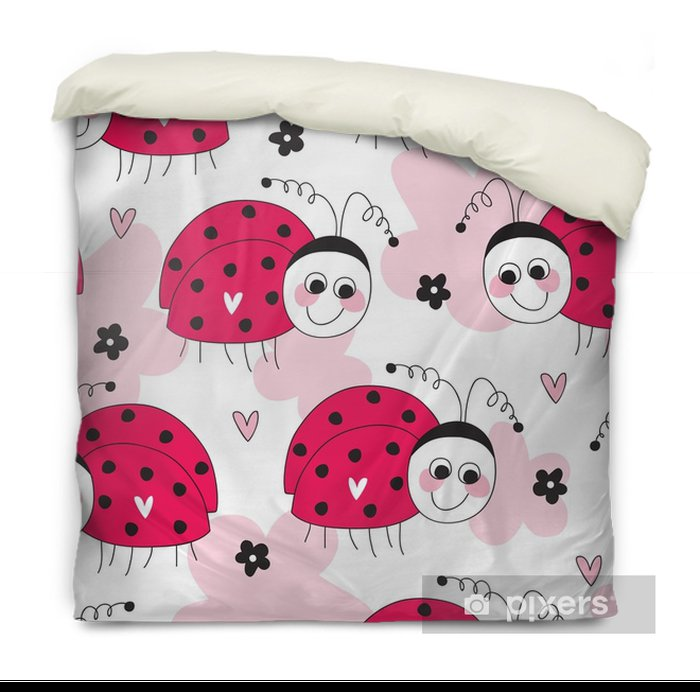 seamless cute ladybug pattern vector illustration Duvet Cover - Animals