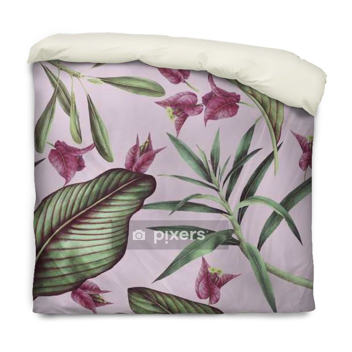 Seamless tropical flower pattern, watercolor. Duvet Cover - Plants and Flowers