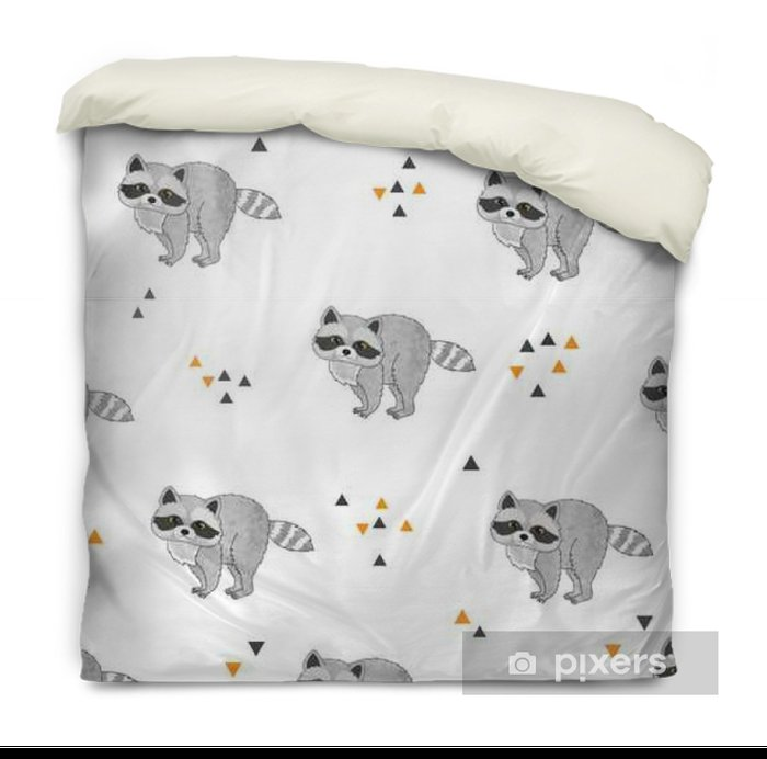 Seamless vector pattern with cute raccoons. Duvet Cover - Animals